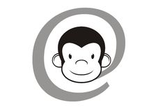 Internet sign with monkey head. Vector generated internet sign with monkey head Stock Photography