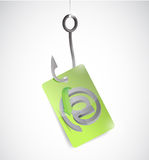 At internet sign tag and fishing hook Stock Photography