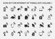 Internet simples do grupo do ícone das coisas Fotos de Stock