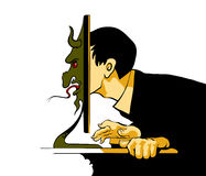Internet-Sleeplijnzitting bij de computer royalty-vrije illustratie