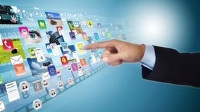 Internet social media and multimedia sharing stock photo