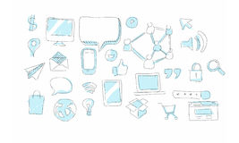 Internet social media sketch objects Stock Photo