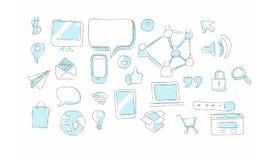 Internet-Social Media-Skizzengegenstände Stockfoto