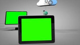 Internet-Social Media-Vernetzung der Animation 3d und Wolkenon-line-Geschäftstechnologiefarbenreinheitsschlüssel grünen Schirm