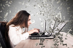 Internet and social network addiction. Woman on the computer writes frantically. internet and social network addiction Stock Photos