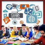 Internet social social Conce en línea de la red de la parte creativa medios imagen de archivo libre de regalías