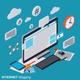 Internet som blogging, bloggledning, begrepp för rengöringsdukpublikationsvektor royaltyfri illustrationer