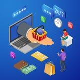Internet som shoppar isometriskt begrepp för online-betalningar arkivbilder