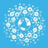 Internet-Sozialmedia-Kugel-Blau lizenzfreie abbildung