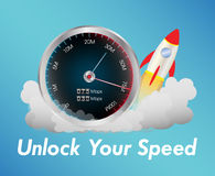 Internet speed test meter with rocket. A internet speed test meter with rocket stock illustration