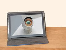 Internet spying ring surveillance camera Royalty Free Stock Images