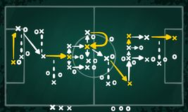 Internet strategy written on tactic chalkboard. Internet strategy concept vector with white and yellow marks on soccer tactic chalkboard Royalty Free Stock Images