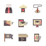 Internet support flat color icons set Stock Photography