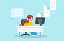 Internet surfing concept. Flat  illustration. Girl sitting at a table behind a computer looking at the computer screen and w Stock Images