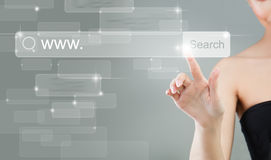 Internet Surfing. Female Hand and Virtual Display Stock Photo