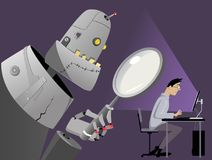 Internet surveillance. Giant robot with a magnifying glass standing behind the back of a man, working on his computer, EPS 8 vector illustration, no Royalty Free Stock Images