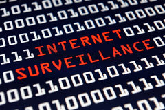 Internet Surveillance. Message on the computer screen Royalty Free Stock Images