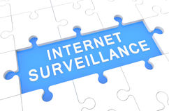 Internet Surveillance. Puzzle 3d render illustration with word on blue background Stock Photo