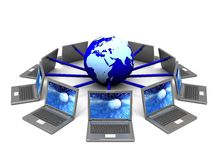 Internet symbol. 3d illustration of laptop network around earth globe, internet symbol Stock Image