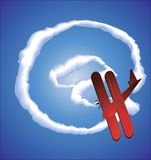 Internet symbol and  aeroplane Stock Image