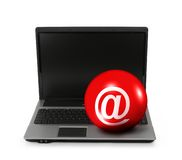 Internet symbol on laptop Stock Photo