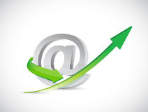 Internet at symbol and up arrow. Royalty Free Stock Image