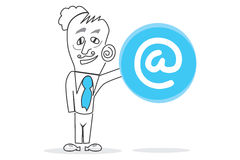 Internet Symbol. Vector drawn Human with a big blue hourglass piece in hands Stock Photos