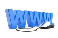 Internet symbol www connected to a mouse Stock Image
