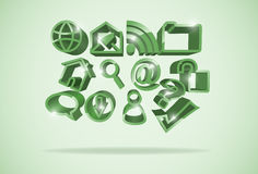 Internet symbols. Vector light green internet symbols background, eps10 file, gradient mesh and transparency used Stock Photography
