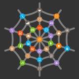 Internet symbols in web. Vector illustration of internet symbols in web royalty free illustration