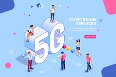 Isometric People Mobile 5G Generation. Internet systems telecommunication service. Wifi broadcast and data generation. Mobile 5G smartphone signal, tech of speed vector illustration