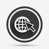 Internet szyldowa ikona symbol sieci szeroki świat Zdjęcia Stock