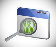Internet take a look concept, under a magnifier Royalty Free Stock Photo