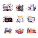 Internet-technologieën innovatieve methodes van baan, codage en programmering stock illustratie