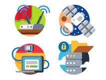 Internet-Technologieikonensatz Stockfotos