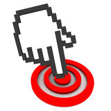 Internet technology. Hand icon touching a red target circle showing accomplishment of goal through technology enabled work culture, white background Stock Image
