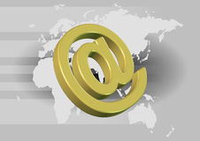 Internet Technology Background. 3D of email symbol on world map background royalty free illustration