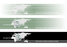 Internet Technology Banners. 3D of email symbol on world map banners background vector illustration