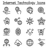 Internet technology & Data communication icon set in thin line s. Tyle vector illustration graphic design Stock Photography