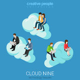 Internet technology heaven cloud flat 3d vector isometric Royalty Free Stock Photo