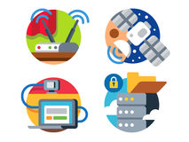 Internet technology icon set. Internet technology by satellite transmission of information or data cloud icon set. Vector illustration Stock Photos