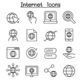 Internet Technology icon set in thin line style Royalty Free Stock Photos
