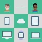 Internet technology infographic in flat style. Two users in glasses and different cloud devices Royalty Free Stock Images