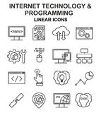 Internet technology and programming linear icons set. Royalty Free Stock Images