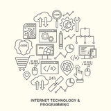 Internet technology and programming round shape pattern with linear icons. Stock Photography