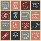 Internet technology and programming white linear icons set. Royalty Free Stock Photography