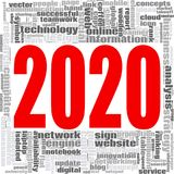 2020 Internet Technology word word cloud. Concept on white background, 3d rendering Stock Photography