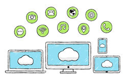 Internet, tecnologia sociale, icone moderne, scarabocchio Fotografia Stock Libera da Diritti