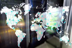 Internet and telecommunication concept with world map on server room background.  royalty free stock images