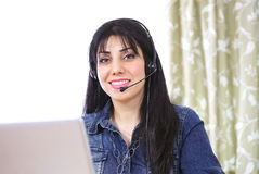 Internet telephony female Royalty Free Stock Photo